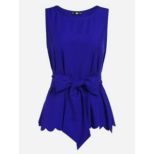 Tops - NEW SCALLOP TRIM BELTED SLEEVELESS BLOUSE